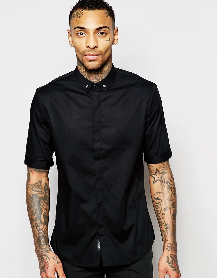 Religion skull collar shirt on ASOS