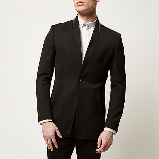 River Island black reverse lapel men's blazer