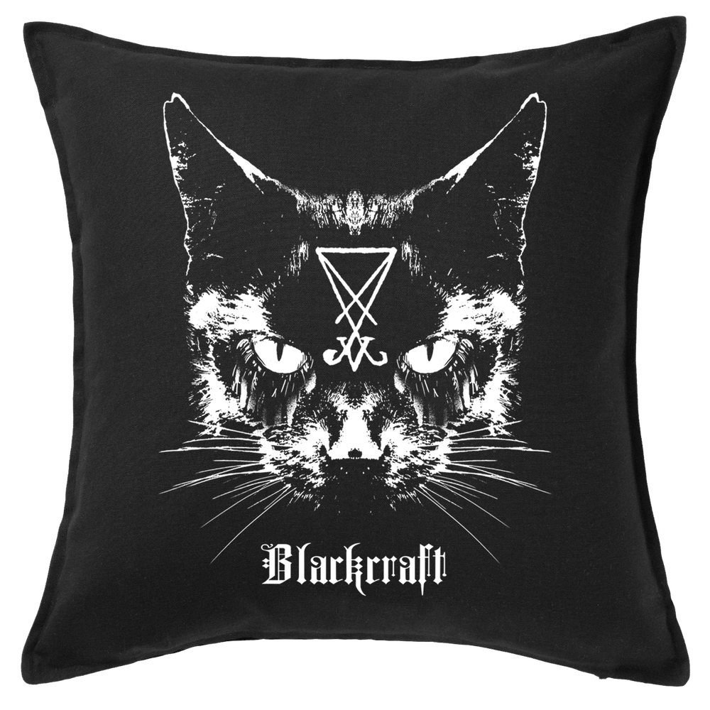 Black Craft Cult Lucifer Cat throw pillow