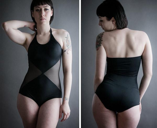 Altar PDX black mesh one piece swimsuit