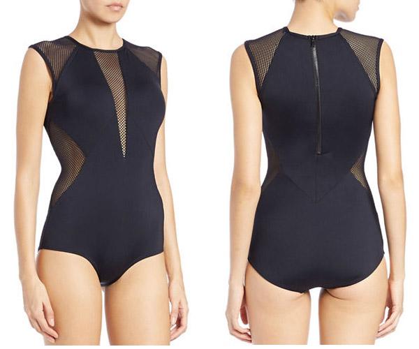 Carmen Marc Valvo black mesh one piece swim