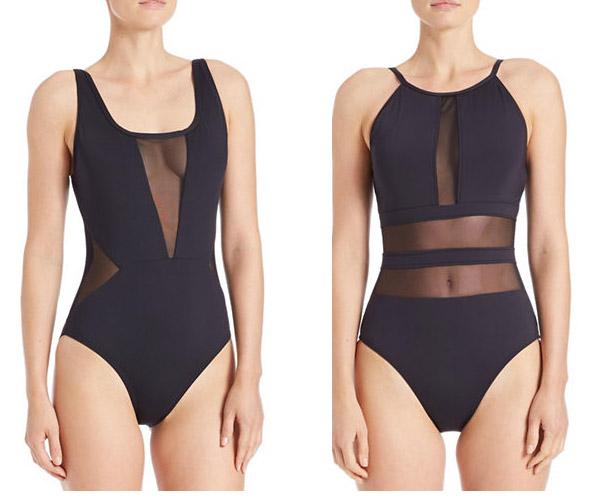 La Blanca black mesh one piece swimwear