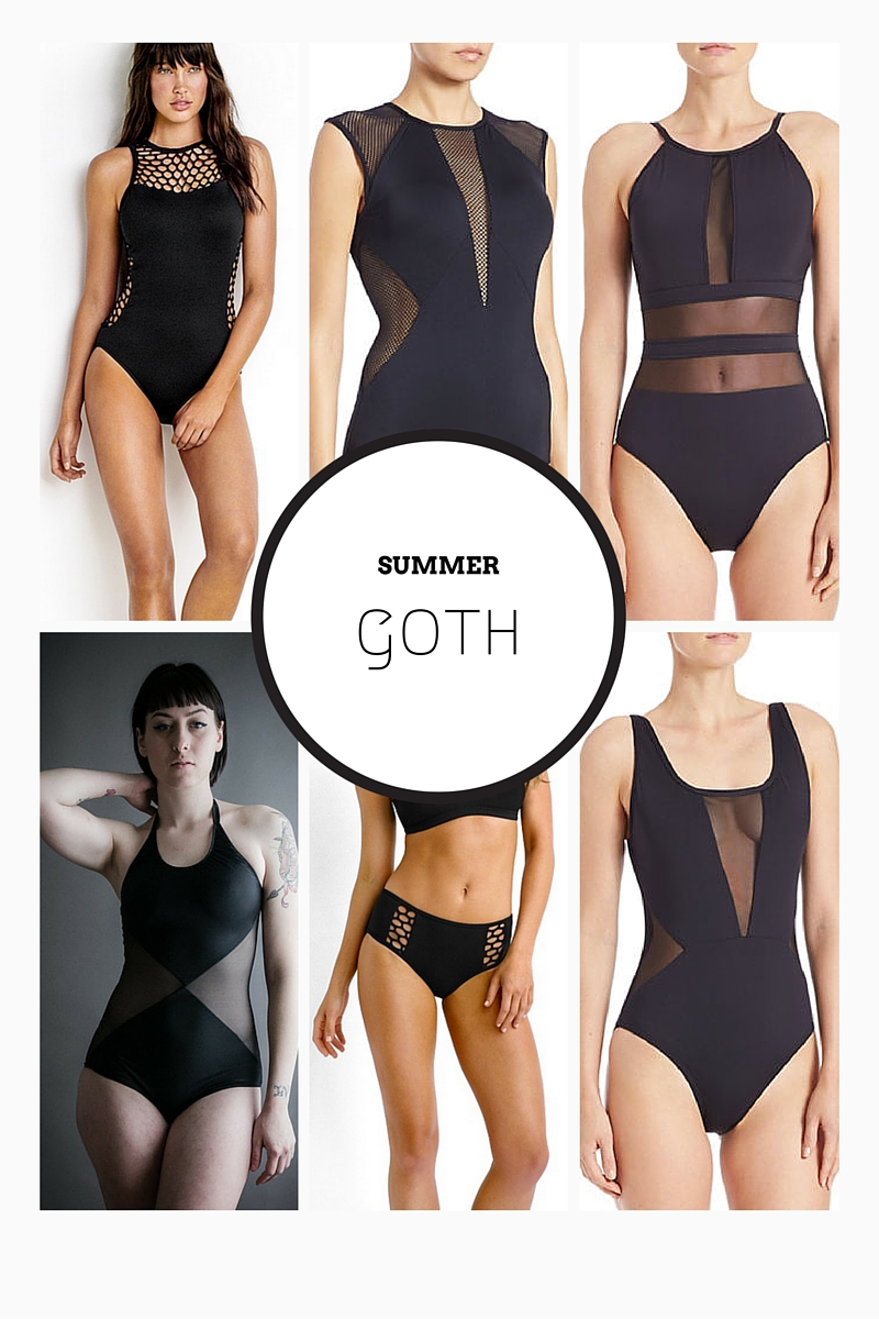 summer goth all black swimwear